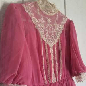 Vintage Chiffon and Lace Dress